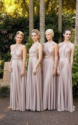 convertible bridesmaid dresses ... I love this type of dresses that adapt to any type of figure and the pale color goes very well ...