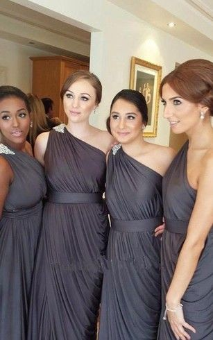grey one-shoulder bridesmaid dresses in empire style with beadings
