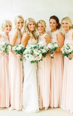 lace bridesmaid dresses in pale rose with illusion chiffon top