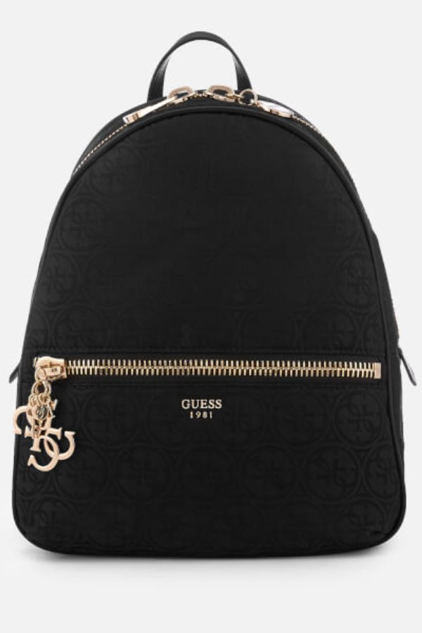 lovely black backpack with chunky zips in gold-tone