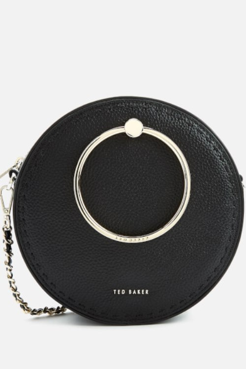 lovely circle bag in black with metal ring detail -