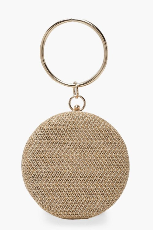 lovely raffia straw round clutch with metal ring handle