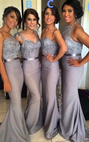 mermaid bridesmaid dresses with different styles tops with lace appliques and belt in grey