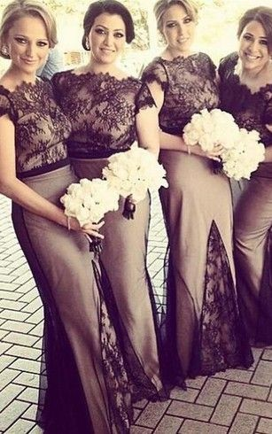 mermaid bridesmaid dresses with lace top
