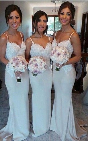 mermaid bridesmaid dresses with spaghetti strap and beautiful lace appliques