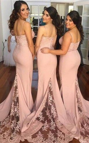 mermaid lace bridesmaid dresses with sweep train and spaghetti strap