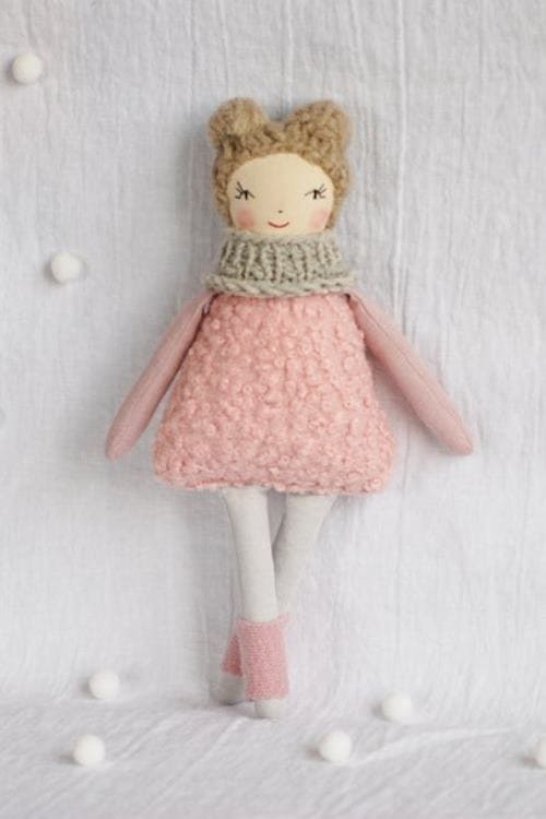 pink ballerina doll cloth rag doll handmade fabric linen toys, gift for girl, pink nursery decor toddler toys