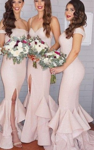 sexy mermaid bridesmaid dresses with ruffles and front split