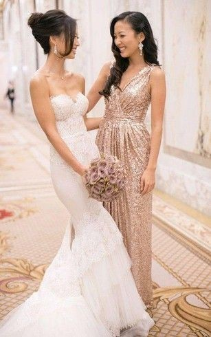sleeveless bridesmaid dress with sequins and v-neck
