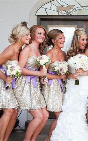 sleeveless short bridesmaid dresses sweetheart bowknot sequins