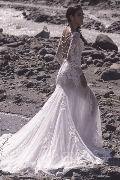 sparkling silver beaded mermaid boho bridal gown in lace and tulle with beads adornment back details. -