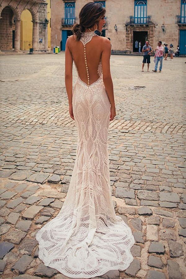 stunning and sensual mermaid lace boho wedding dress with detail in open back detail