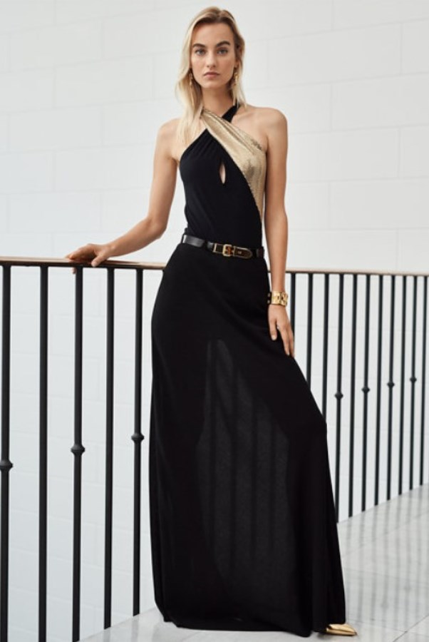 woow this acoutfit! gorgeous sequined bodysuit with black maxi skirt - copia