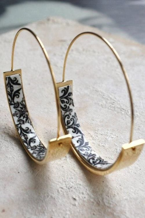 Golden Hoops Earrings in Black and White with Tile Portugal Antique Azulejo