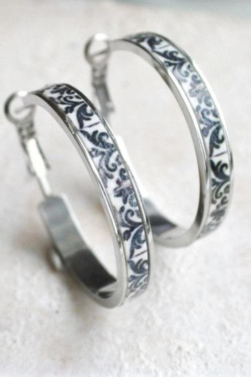 Silver Hoops Earrings in Black and White Tile Portugal Antique Azulejo