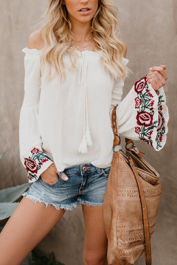 Beautiful Off-Shoulder Boho Blouse with embroidery bell sleeves
