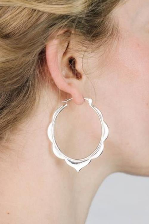 Boho Moroccan Tribal Hoop Earrings - Solid Sterling Silver