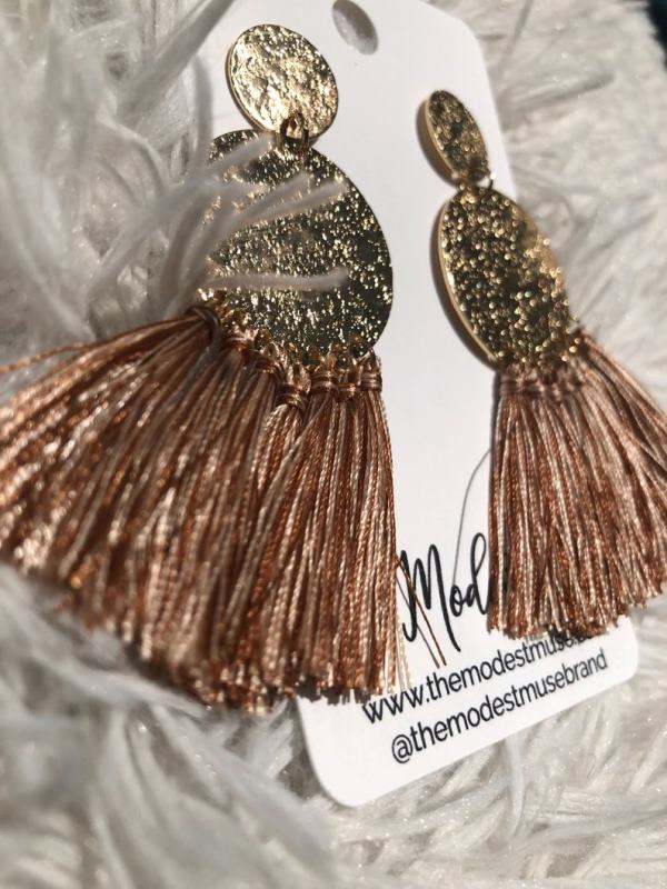 Handmade Rose Gold Tassel Earrings - boho earrings - statement earrings