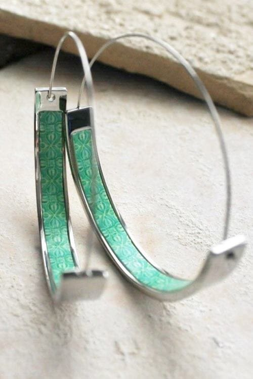 Hoop Earrings Portugal Tile Turquoise