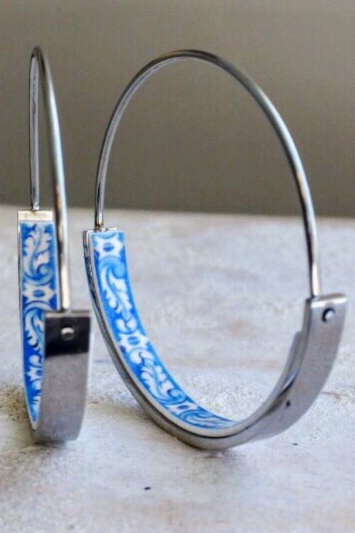 Hoop Earrings with Blue Tile Center - Stainless Steel - Atrio Hoops Portuguese Azulejos