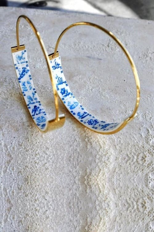 Hoops Atrio Earrings Tile Portugal Stainless Steel Flat Bottom Antique Azulejo Blue White Tiles Delft Pasteis de Belem Minimal