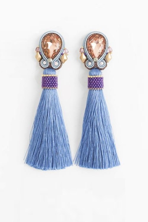Long soutache bohemian tassel earrings