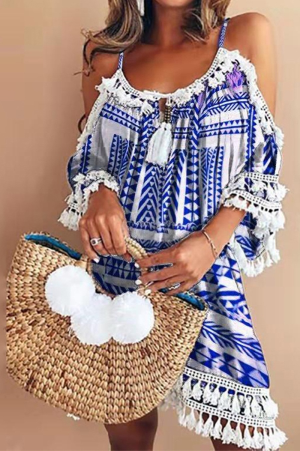 Lovely Boho Chic Look - Boho Mini Dress in blue and white with tassels - Hippy Chic Style