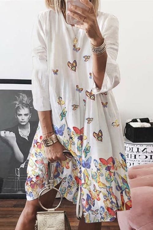 Lovely Butterfly Print Midi Dress
