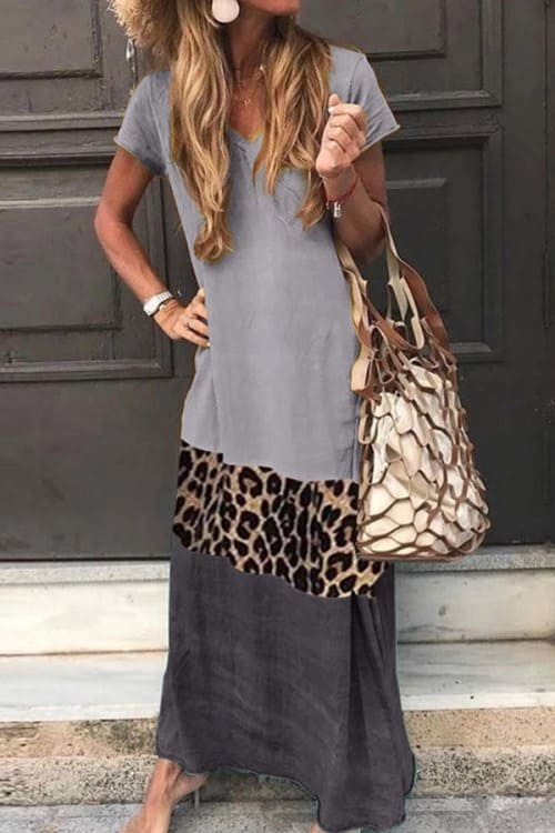 Maxi Dress in grey and leopard print with short sleeves