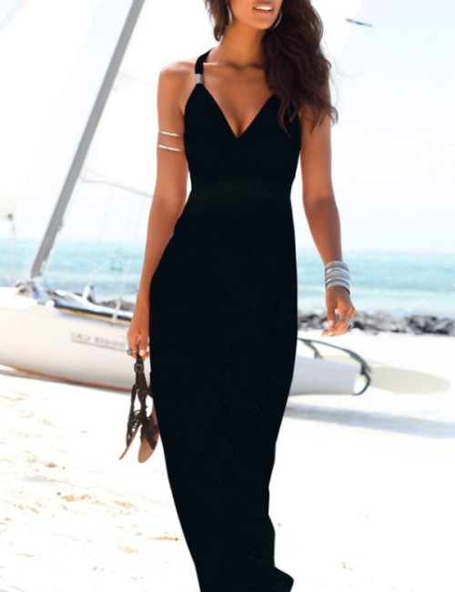 Nomadic Style Girl - long black dress