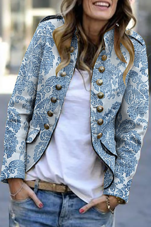 So cute this print Blazer in white and blue with decorative buttons