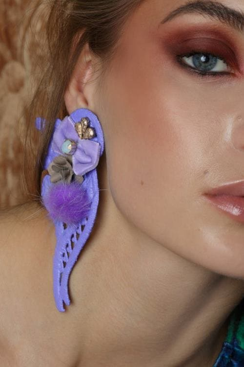 Statement lavender clip-on earrings, oversized earrings, purple earrings, flower earrings,unique