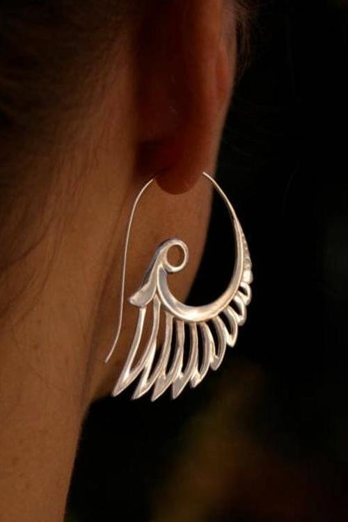 Sterling Silver Feather Earrings - Angel Wing - Big Art Nouveau Statement Earrings