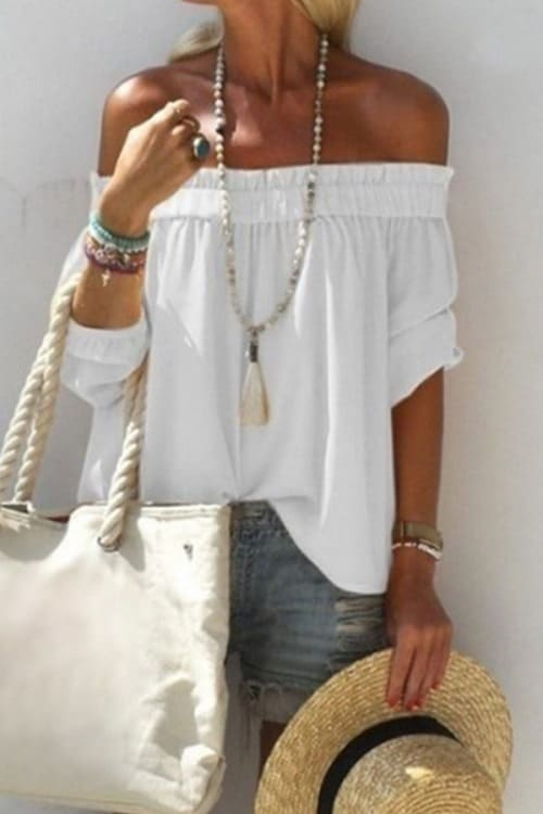 i love this casual summer look! white loose off-shoulder blouse and jeans