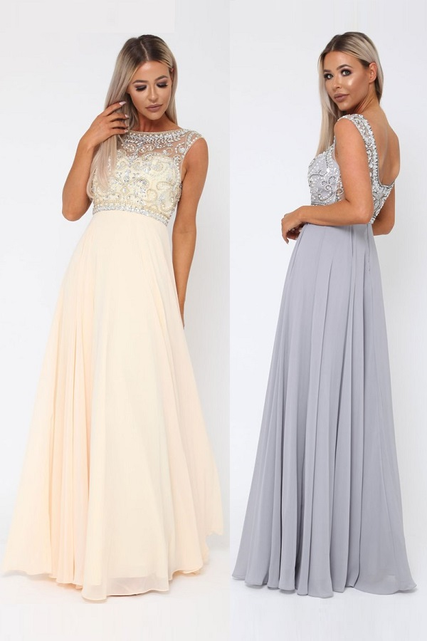 lovely bohemian long gown with sequins and stones - romantic bridesmaides dresses in champagne or grey