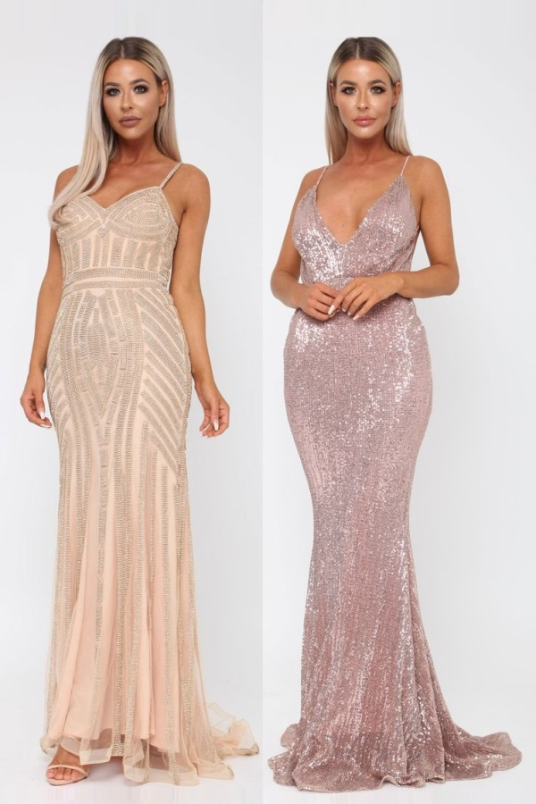 luxurious bridesmaides dresses - left Stunning Gatsby long gown in gold - right sexy sequinned long gown in rose gold