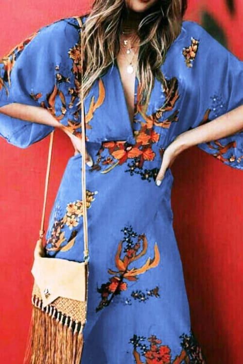 Batwing Sleeve Slit Chinese Style Maxi Dress