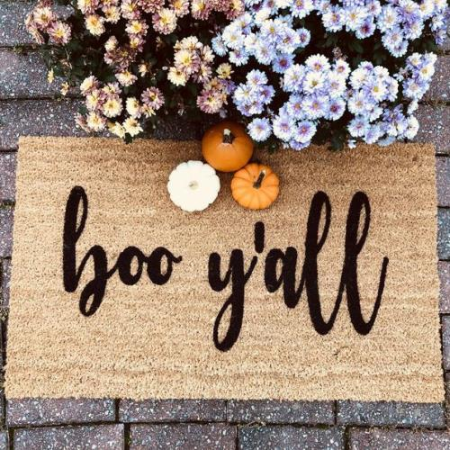 Boo Y'all doormat, door mat, welcome mat, doormat, halloween decor, boo, fall decor,harvest, autumn, fall entryway decor, outdoor