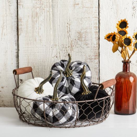 Buffalo Plaid Flannel and Velvet Pumpkins
