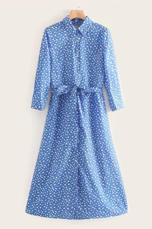 Dalmatian Print Blue Shirt Dress