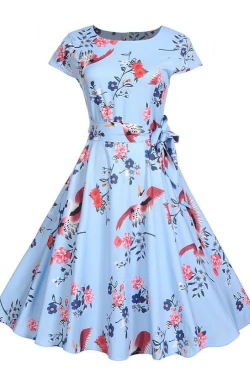 Femenine Boho Floral Print Midi Dress