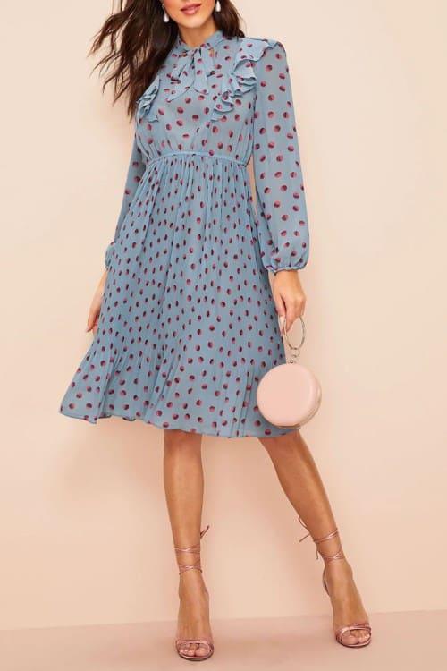 Femenine Dot Print Tie Neck Pleated Blue Midi Dress