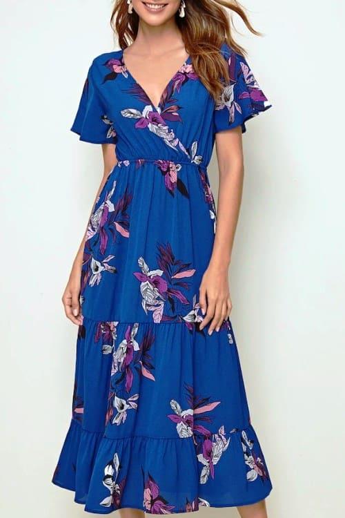Floral Print Blue Maxi Dress