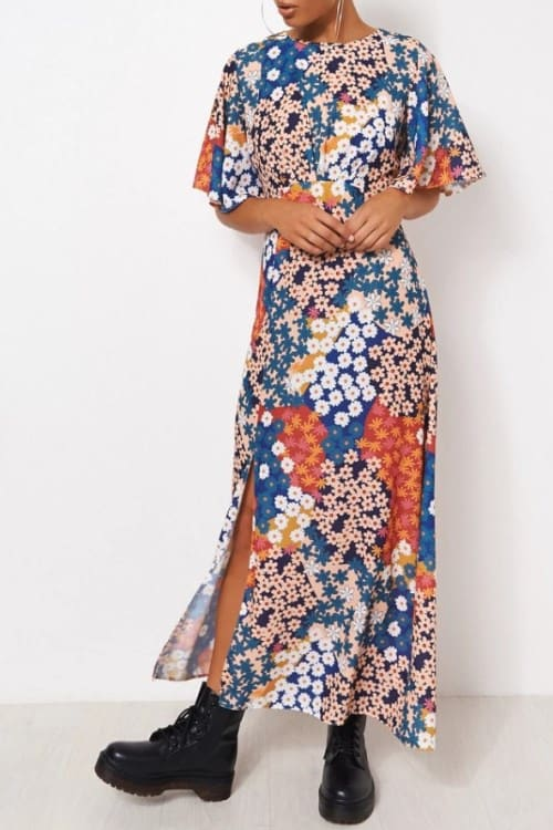 Floral Print Maxi Dress with cape sleeves