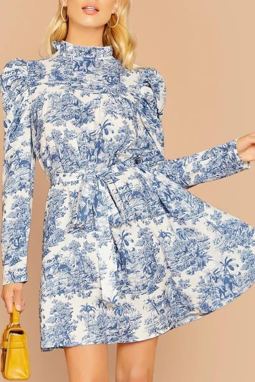 Gigot Sleeve Print Belted Dress