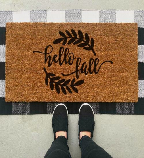Hello Fall Doormat Fall Doormat Fall Welcome Mat Fall Front Porch Custom Doormat Front Porch Decor Door Mat