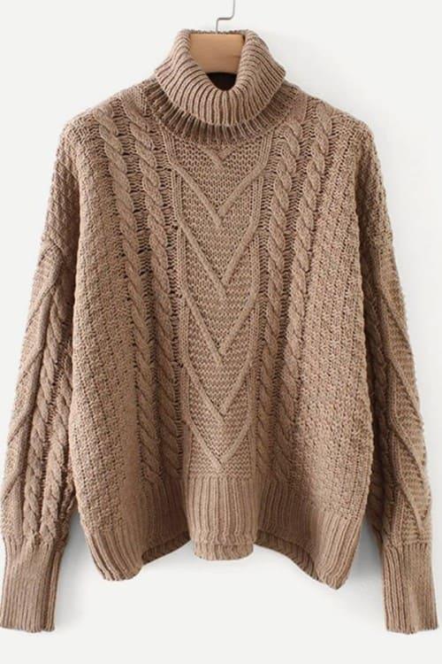 High Neck Irish knitted sweater