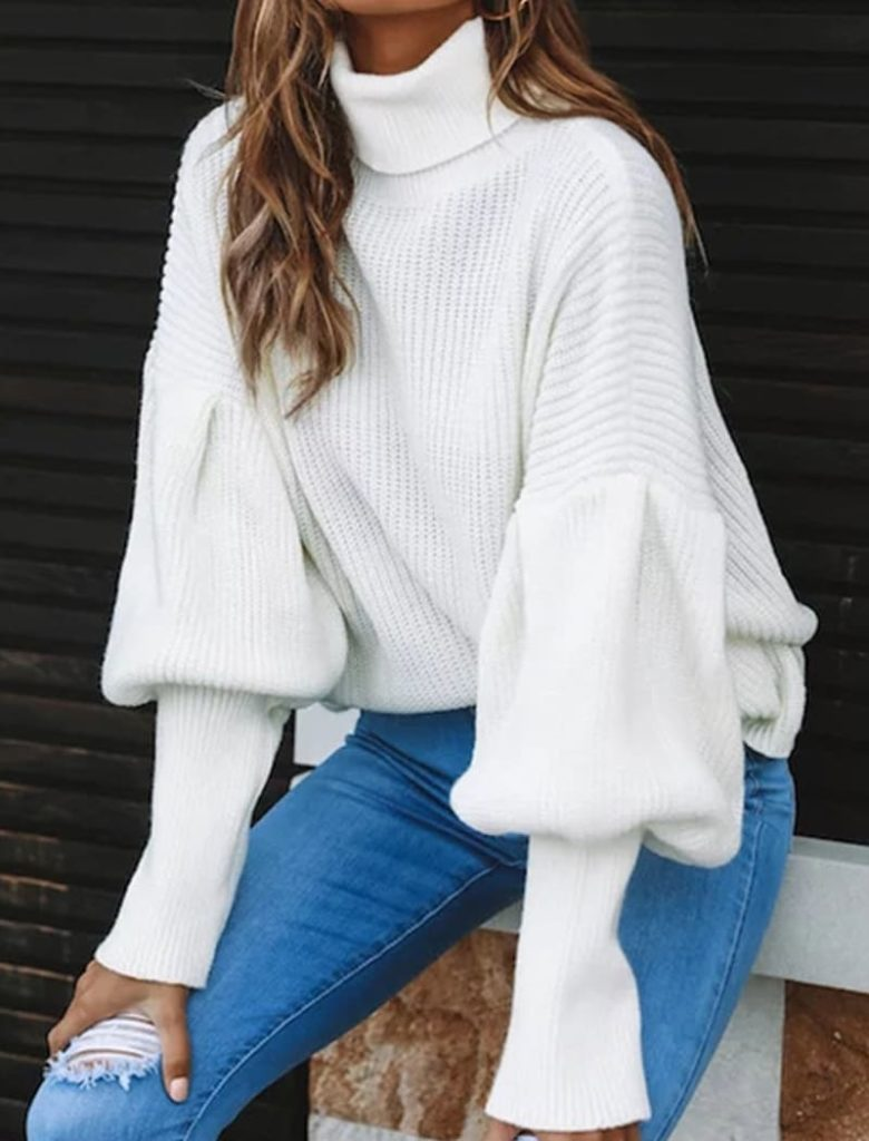High Neck White Sweater