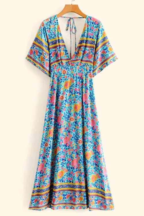 Knot Back Floral Print Boho Maxi Dress
