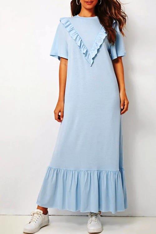 Light blue maxi dress with ruffle hem